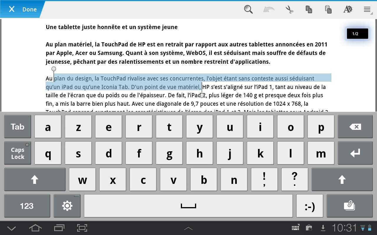 QuickOffice Pro HD : le traitement de texte