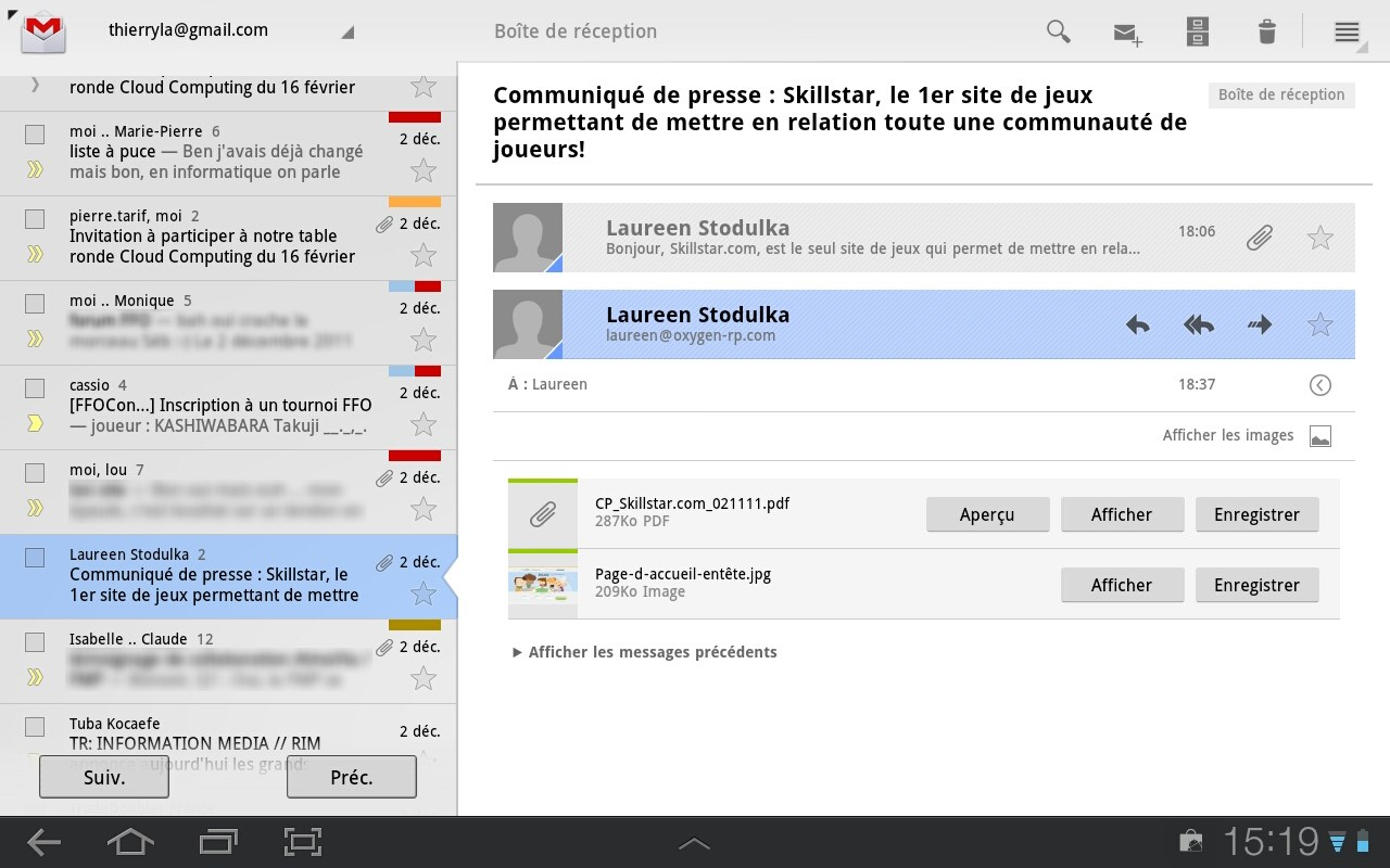 Gmail sur tablette Android