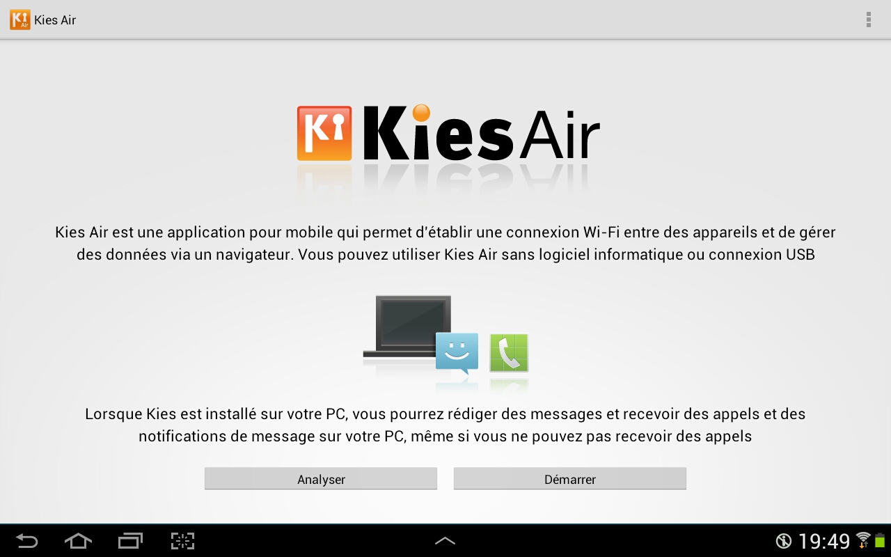 L'application KiesAir est lancée sur la tablette Android