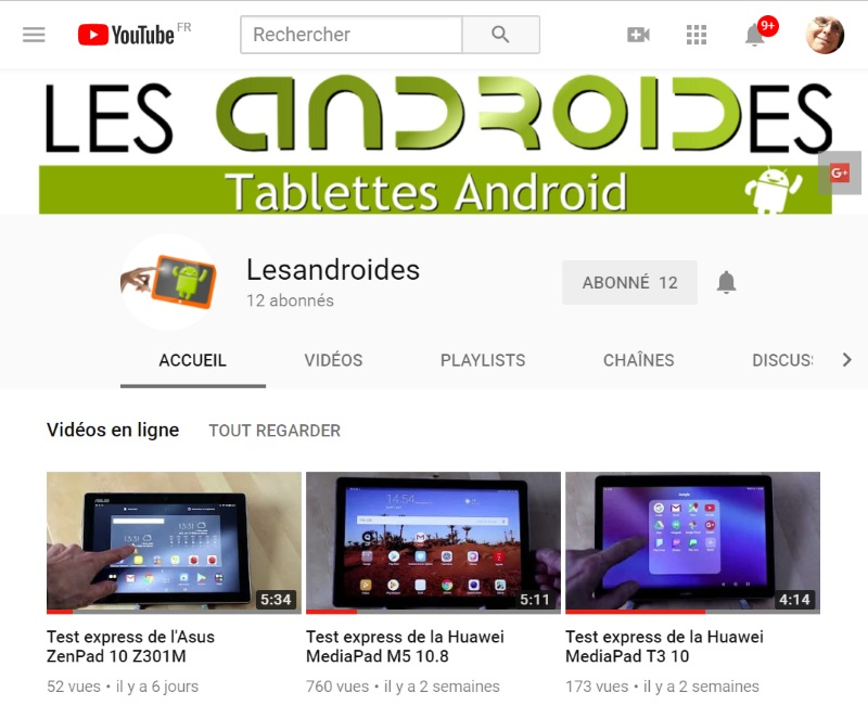 Chaines Youtube de Lesandroides