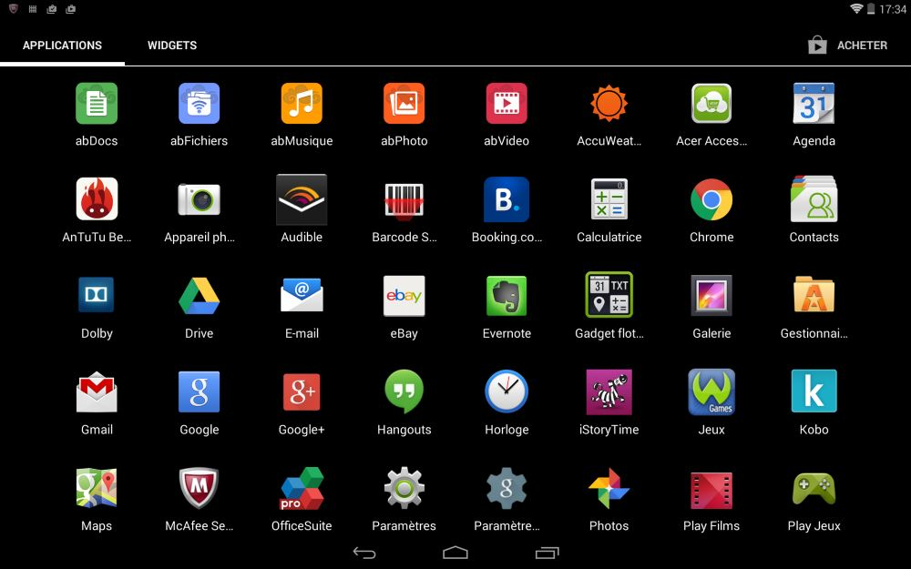 Iconia Tab 10 A3-A20 (applications)