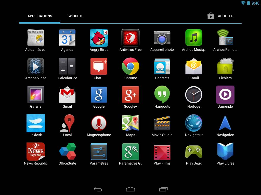 Archos 80b Platinum (applications)