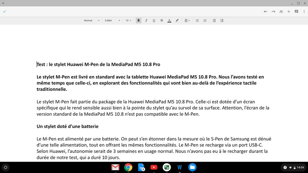 Asus Chromebook Flip C434 (google Docs dans Chrome)