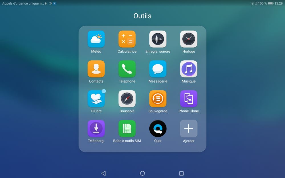 Applications de la Huawei MediaPad M5 10.8 Pro (outils)