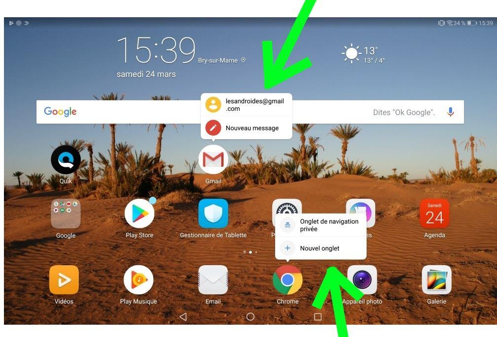 fe391829773 Une pression sur certaines icônes permet de choisir une action avant  d ouvrir l application