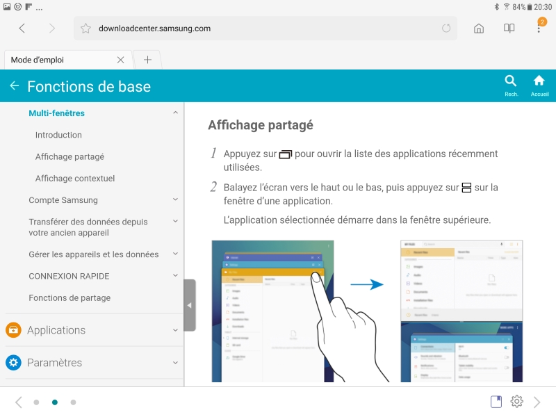 Documentation en ligne de la Galaxy Tab S3