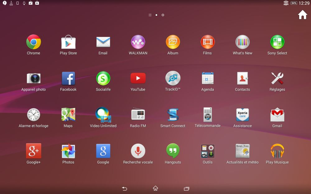 Sony Xperia Z2 Tablet (applications 1)