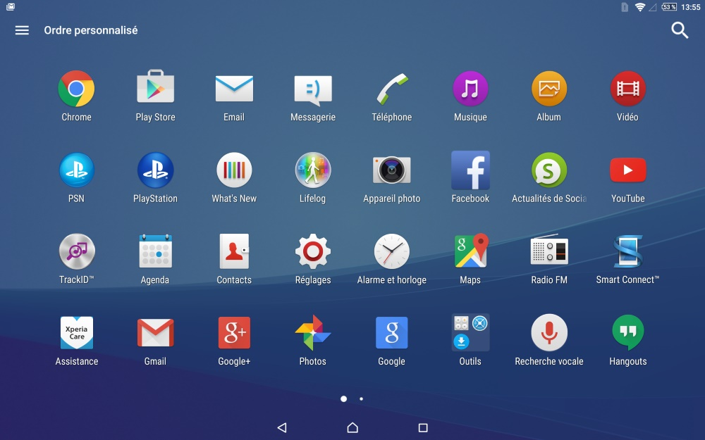 Sony Xperia Z4 Tablet (applications 1)