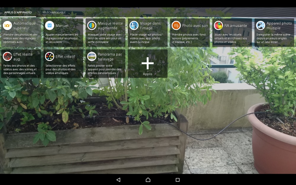 Sony Xperia Z4 Tablet (application de l'appareil photo)